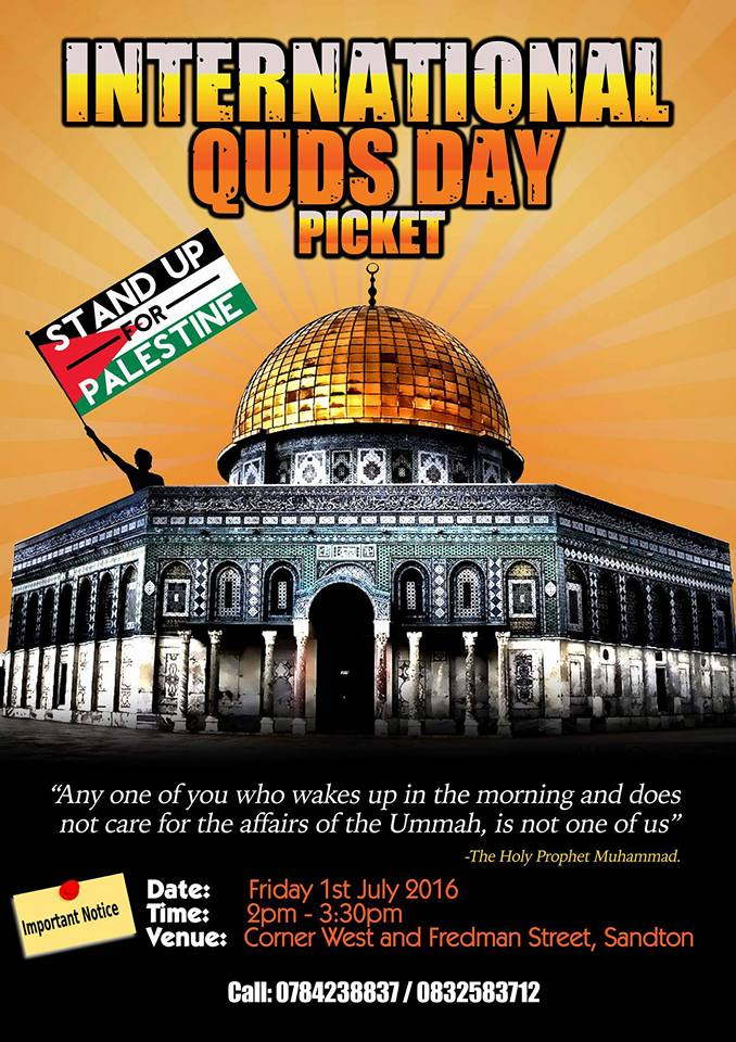 Picket for a Free Palestine – Al-Quds Day, Friday 1 July 2016