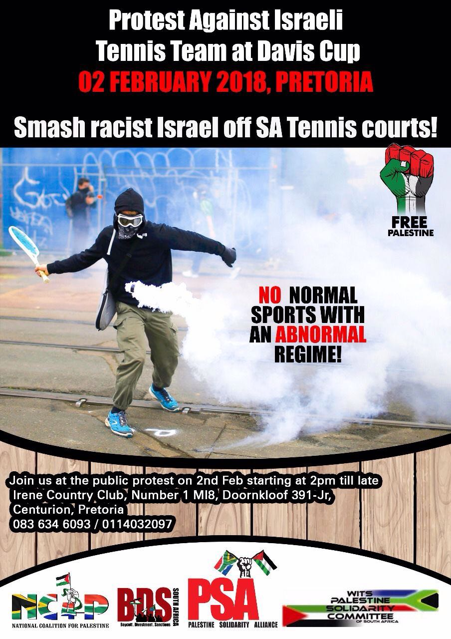 Say NO to Israel's participation in SA Davis Cup
