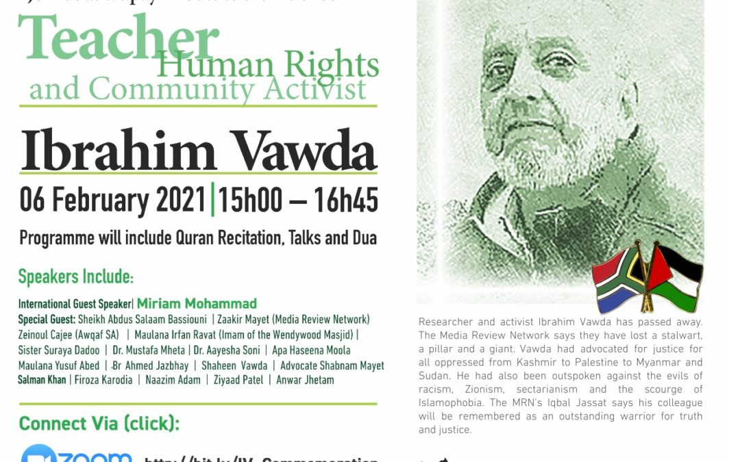 Commemoration Programme Honouring the life of Ibrahim Vawda